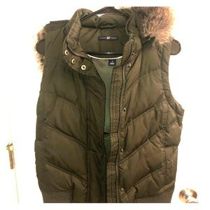 GAP hunter green vest with hood
